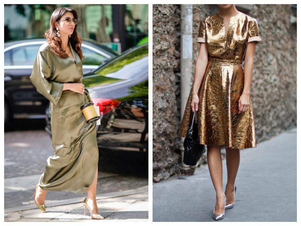 Платье на Новый год 2021 - платье оливкового цвета и платье из золотистой ткани