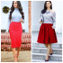 С чем носить красную юбку — 30 фото-идей для стильного образа